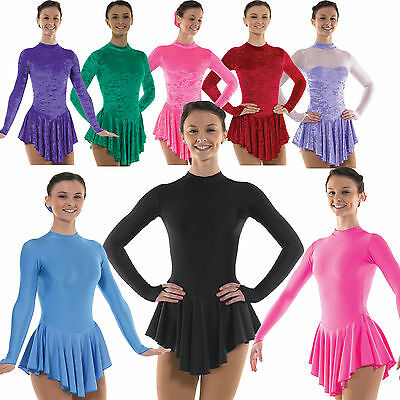 Ice Skating Dress Velvet Lycra Hologram Leotard Skirted Roller Skating Dresses