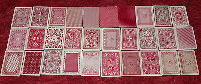 Vintage Lot Of 30 Red Patterned Backs 30 Single / Swap Playing Cards