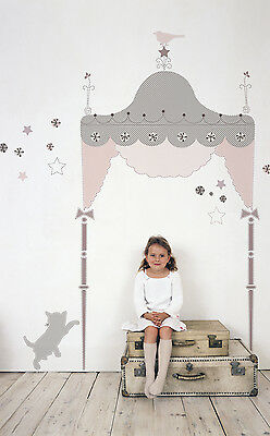 GIRLS PINK GRAY HEADBOARD WALL DECALS Canopy Bed Stickers Bedroom Decor