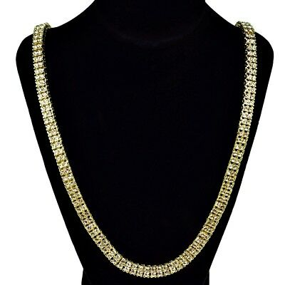 """Two Row Iced Out Gold Plated 30"""" Necklace Tennis Chain Bling Shine Jewellery U.K"""