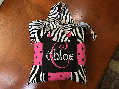 Tooth Fairy Pillow - Zebra & Pink - Chloe Personalized Name - Hanging - Pocket