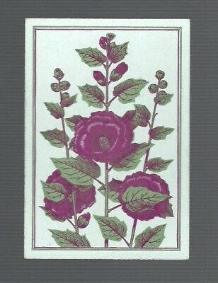 Swap Playing Cards 1 Antique Square Corner  Hollyhock Flowers  Sq42  C1800'S Vgc