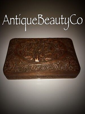 Beautiful Vintage Antique Black Forest Jewellery Box Relief Hand Carved Foliage