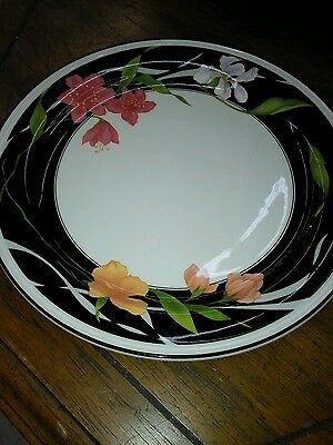 Sango Sangostone Dinner Plate MEMORIES 3665 10.75 inches  Black Band Flowers