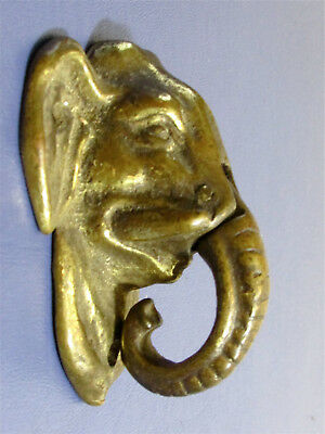 Antique Solid Brass Elephant Head Door Knocker With Articulated Trunk