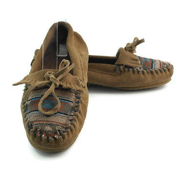 Minnetonka Women's Brown Leather Fringed Slip On Slim  Moccasin Loafers  Size 7
