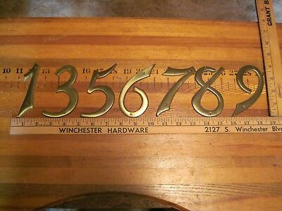 "Vintage New Brass House Numbers, Weiser Co., # 1285, 4"" Tall, Mailbox #'s, Usa"