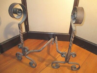 ANDIRONS vintage ARTS & CRAFTS hand forged MISSION STYLE wrought iron HUGE HEADS