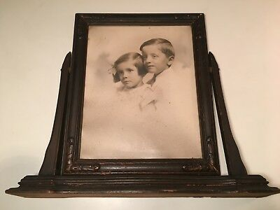 Vintage Victorian Style Wooden Swivel Picture Frame w/ Antique Photo Boy & Girl