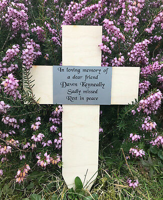 Personalised Engraved Temporary Memorial Wood Cross Grave Marker Plaque