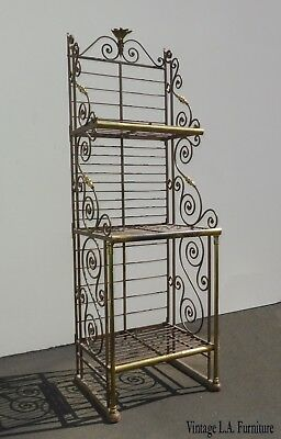 Vintage French Country Style Wrought Iron & Brass Three Tier Bakers Rack