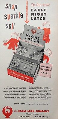 1955 Ad(H1)~Eagle Lock Co. Night Latch. Terryville, Conn.