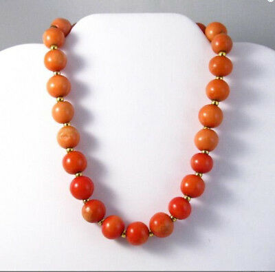 Antique Art Deco dark coral large beaded choker necklace