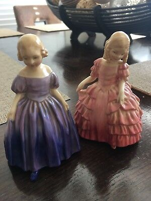 LOT (2) ROYAL DOULTON YOUNG GIRL             ROSE & MARIE England Signed!