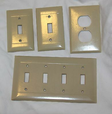 Vintage Lot Of Four Ivory Bakelite Sierra & Eagle Switch Plate Covers!