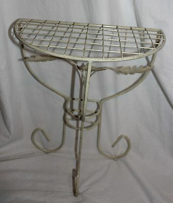 Vintage Metal Almond Ornate Leaves Stand Alone Indoor Or Outdoor Plant Stand!