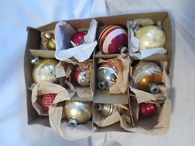 Lot Of 12 Assorted Glass Striped Glittered Christmas Ornaments With Box No lid