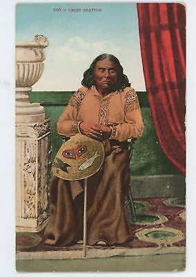 CHIEF SEATTLE Suquamish Tribe Indian Chief Native Americana Vintage Postcard