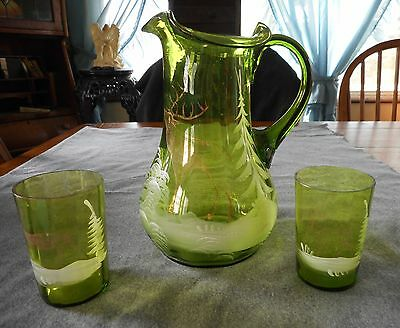 Antique Mary Gregory Style Green Hand Painted With Elk/deer Pitcher & Tumblers
