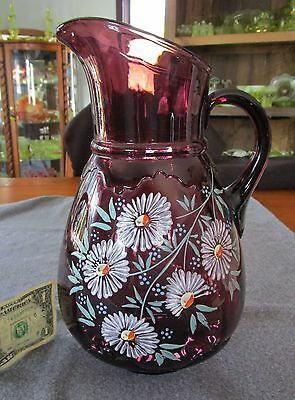 Antique Northwood Amethyst Scalloped Collar Hand Painted Flowers Water Pitcher