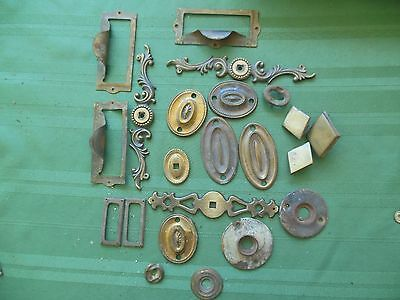 Assorted   Vintage Drawer Plates, covers ect