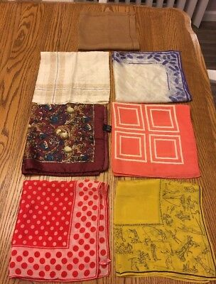 "Lot of 7 Vintage Ladies Scarves~Scarf Sally Gee Nordstrom & more 16""-17"" Square"