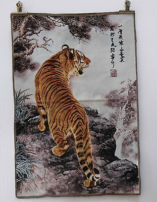 """35"""" Tibet Collectable Silk Hand Painted  Painting Tiger Thangka"""