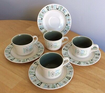 Set 4 Vintage Cathay Cups & Saucers Taylor Smith Taylor Atomic Starburst EUC 8pc