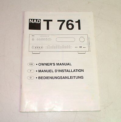NAD T761 Stereo Receiver Owner's Manual