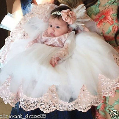 Vintage Infant Lolita Robe Baby Lace Ivory Baptism Christening Ball Gown Dress