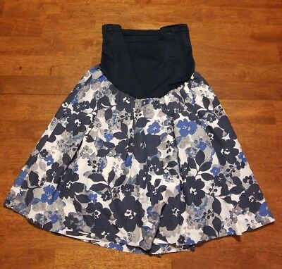A Pea in the Pod Maternity Skirt Sz M Medium Blue Gray White Floral Work Career