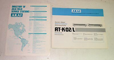 AKAI AT-K02/L AM FM Stereo Tuner Operator's Manual