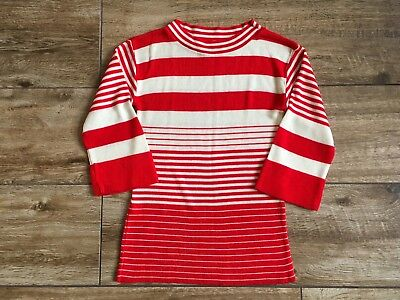 Vintage Women's Red and White Sweater Top Garland