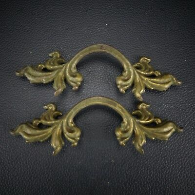 2 Vintage Antique Cast Brass Handle Pull Dresser Drawer Cabinet Pulls (Lot 6)