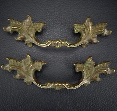 2 Vintage Antique Cast Brass Handle Pull Dresser Drawer Cabinet Pulls (Lot 9)