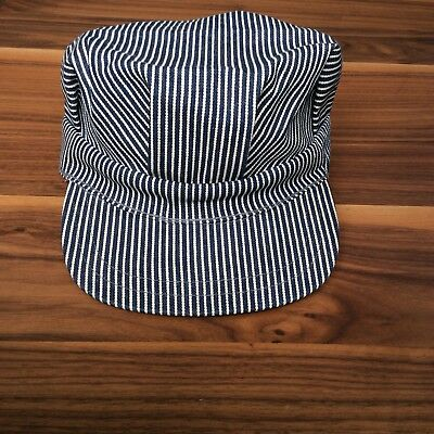 Vintage Train Conductor Blue Striped Snapback Cap Hat Unisex One Size Fits All