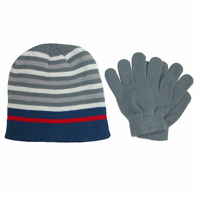 New Grand Sierra Kid's 8-12 Striped Hat and Solid Gloves Winter Set