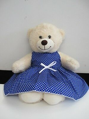 "DRESS  suitable Build a Bear  ""Blue with White Spots  """