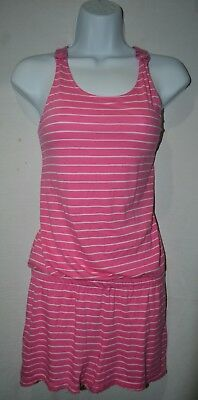 Faded Glory Girl's Romper Jumpsuit Sz XL (14/16) Pink White Striped
