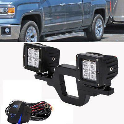 Tow Trailer Light Hitch Mount Bracket+2 Led Rear Light Fit OffRoad Driving light