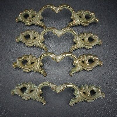 4 Vintage Antique Cast Brass Handle Pull Dresser Drawer Cabinet Pulls (Lot 17)