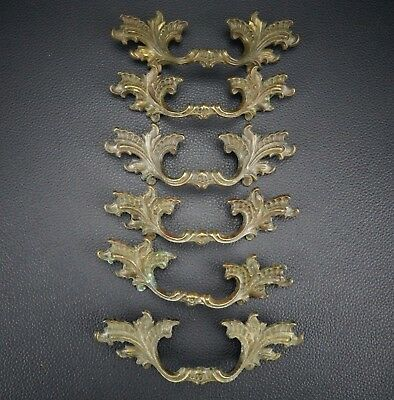 6 Vintage Antique Cast Brass Handle Pull Dresser Drawer Cabinet Pulls (Lot 23)