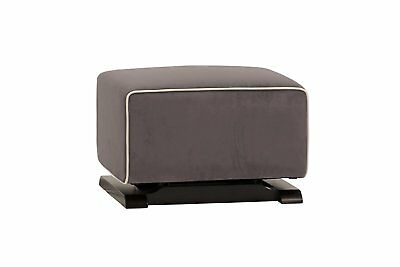 Babyletto Kyoto Ottoman, Slate Microsuede Fabric and Ecru Piping
