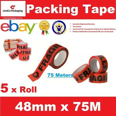 5 Rolls Fragile Packaging Tape Packing Sticky Tape Box Sealing 48mm x 75meter