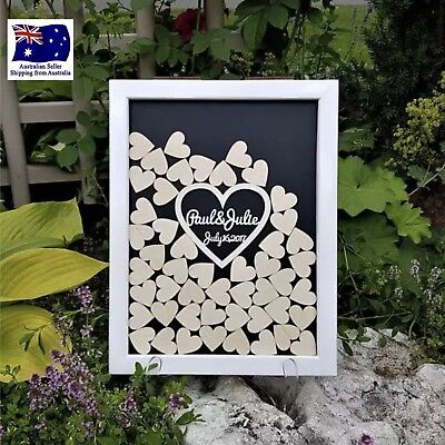 Personalised Customised Wedding Guest Book Drop Box With Wooden Hearts