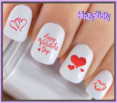 Nail Art #7603 VALENTINES Double Red Hearts WaterSlide Nail Decals Transfers