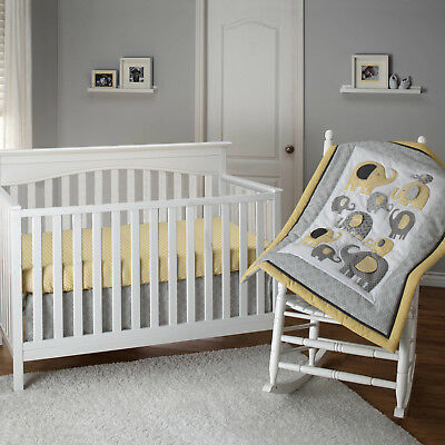 Little Bedding by NoJo Elephant Time 3-Piece Crib Bedding Set Yellow