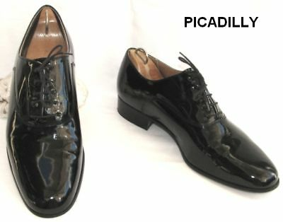 Picadilly Man Shoe Vintage Black Patent Leather 42.5 Mint