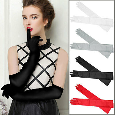 Ladies Long Finger Gloves Elbow Stretch Satin Evening Party Opera Fancy Dress