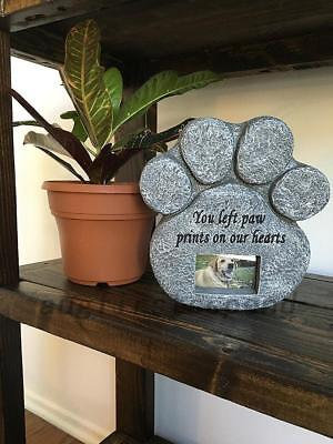 Paw Print Stone Dog Cat Pet Memorial Grave Maker Tombstone With Photo Frame